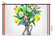Watercolor Flowers Bouquet In Metal Pitcher Impressionism Carry-all Pouch