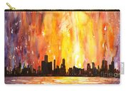 Watercolor Painting Of Skycrapers Of Downtown Chicago As Viewed  Carry-all Pouch