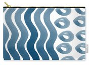 Waves And Pebbles- Abstract Watercolor In Indigo And White Carry-all Pouch by Linda Woods