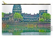 West Gallery From Across Moat In Angkor Wat In Angkor Wat Archeological Park Near Siem Reap-cambodia Carry-all Pouch
