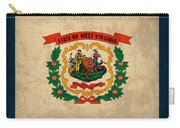 West Virginia State Flag Art On Worn Canvas Carry-all Pouch by Design Turnpike