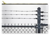 Wet Barbed Wire Fence In Heavy Fog E69 Carry-all Pouch