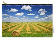 Wheat Farm Field And Hay Bales At Harvest In Saskatchewan Carry-all Pouch