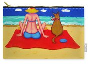 Whimsical Beach Seashore Woman And Dog Carry-all Pouch