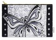 Whimsical Black And White Butterfly Original Painting Decorative Contemporary Art By Madart Studios Carry-all Pouch