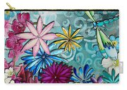 Whimsical Floral Flowers Dragonfly Art Colorful Uplifting Painting By Megan Duncanson Carry-all Pouch