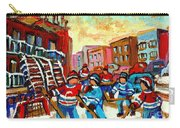 Whimsical Hockey Art Snow Day In Montreal Winter Urban Landscape City Scene Painting Carole Spandau Carry-all Pouch by Carole Spandau