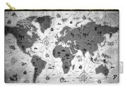 Whimsical World Map Bw Carry-all Pouch