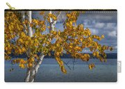 White Birch Tree In Autumn Along The Shore Of Crystal Lake Carry-all Pouch