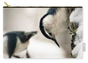 White Breasted Nuthatch In The Snow Carry-all Pouch by Bob Orsillo