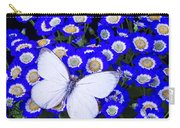 White Butterfly In Blue Flowers Carry-all Pouch