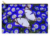 White Butterfly On Blue Cineraria Carry-all Pouch