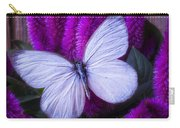 White Butterfly On Flowering Celosia Carry-all Pouch