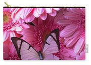 White Butterfly On Pink Gerbera Daisies Carry-all Pouch