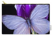 White Butterfly On Purple Tulip Carry-all Pouch