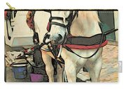 White Cart Horse Carry-all Pouch
