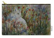 White Cat In Flowers Carry-all Pouch