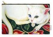 White Cat On A Cushion Carry-all Pouch