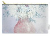 White Chrysanthemums Carry-all Pouch by Jan Matson