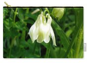 White Columbine On Green Carry-all Pouch