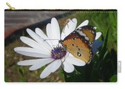 White Daisy And Butterfly Carry-all Pouch