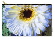White Daisy With Green Wall Carry-all Pouch