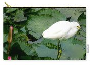 White Egret On Lilypads Carry-all Pouch