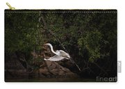 White Egret's Approach   #0615 Carry-all Pouch