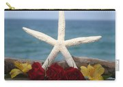 White Finger Starfish And Flowers Carry-all Pouch