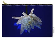 White Flower On Dark Blue Background Carry-all Pouch
