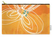 White Flower On Orange Carry-all Pouch by Linda Woods