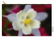 White Flower On Red Background Carry-all Pouch