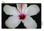 White Hibiscus Isolated On Black Background Carry-all Pouch