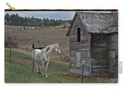 White Horse Near Old Homestead Art Prints Carry-all Pouch