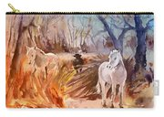 White Horses And Bull In The Camargue Carry-all Pouch