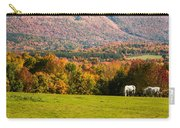 White Horses Grazing With View Of Green Mtns Carry-all Pouch