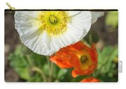 White Iceland Poppy - Beautiful Spring Poppy Flowers In Bloom. Carry-all Pouch