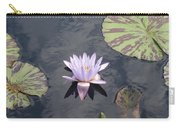 White Light Blue Tiped Waterlily Carry-all Pouch