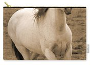 White Mare Approaches Number One Close Up Sepia Carry-all Pouch