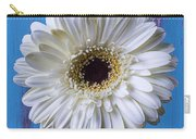 White Mum In Striped Vase Carry-all Pouch