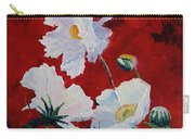 White On Red Poppies Carry-all Pouch