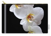 White Orchids On Black Vertical Carry-all Pouch