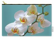 White Orchids On Ocean Blue Carry-all Pouch