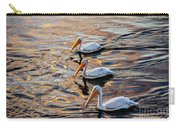 White Pelicans  In Golden Water Carry-all Pouch