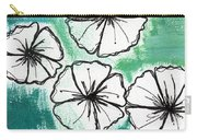 White Petunias- Floral Abstract Painting Carry-all Pouch