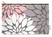 White Pink Gray Peony Flowers Carry-all Pouch
