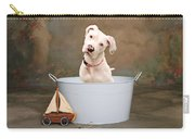White Pitbull Puppy Portrait Carry-all Pouch by James BO  Insogna