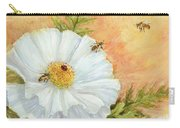 White Poppy And Bees Carry-all Pouch