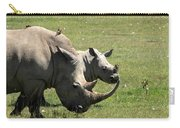 White Rhino Mother And Calf Carry-all Pouch by Aidan Moran