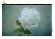White Rose On Blue Carry-all Pouch